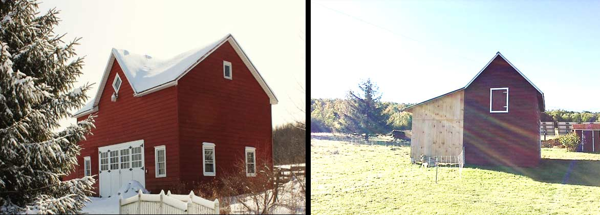 (left) The circa 1900 barn  and (right)  the new post-and-beam barn
